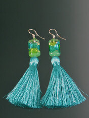 Aqua Venetian Arlecchino Glass Silk Tassel Earrings