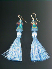 """These miniature pale blue,aqua 24K arlecchinno cubes with 2"""" pale blue silk tassels make a dramatic statement on their own or paired with the matching tassel necklace. More colors coming"""
