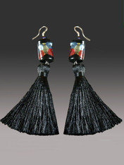 """These miniature blue,garnet 24K arlecchinno cubes with 2"""" blacksilk tassels make a dramatic statement on their own or paired with amatching tassel necklace. More colors coming"""
