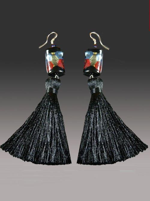 "These miniature blue,garnet 24K arlecchinno cubes with 2"" blacksilk tassels make a dramatic statement on their own or paired with amatching tassel necklace. More colors coming"