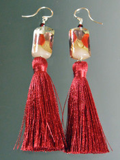 Venetian Topaz Red Arlecchino 24kt Wine/Red Tassel Earrings