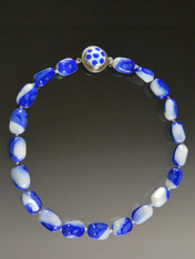 Blue and White Polka Dot Czech Glass Necklace