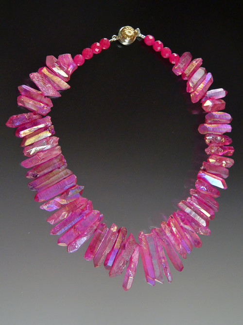 "This bold statement collar features iridescent rose fuschia quartz ""needles"" for a lightweight yet super strong summer look.  18"""