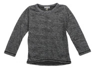 BLACK HEATHER LONG SLEEVE CREW TEE