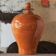 Happy Temple Jar-Orange-Tall