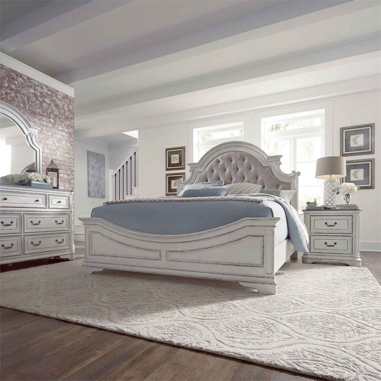 Cheap Furniture Free Delivery: Magnolia Manor Antique White Upholstered Bedroom Set By