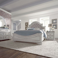 Antique White Upholstered Bedroom Set - FREE SHIPPING
