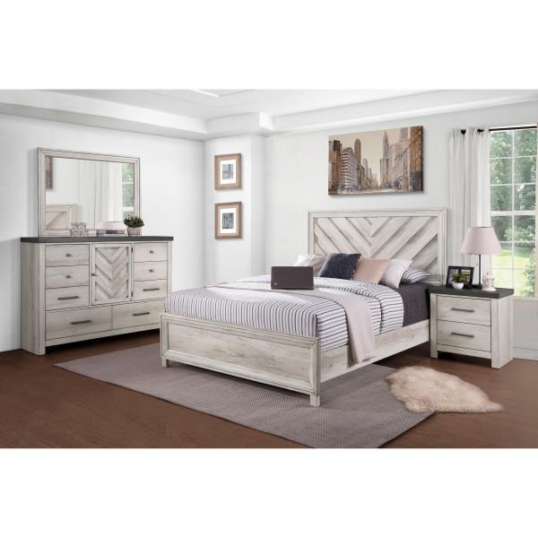 Whitewashed Bureau Bedroom Set - FREE SHIPPING