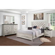 Whitewashed Bureau Bedroom Set - FREE SHIPPING