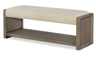 Greige Upholstered Bench - FREE SHIPPING