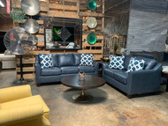 Steel Blue Leather Sofa and Loveseat FREE SHIPPING