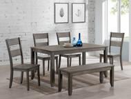 6 pc. Grey Leg Dining Set Table - FREE SHIPPING