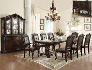 Brown Double Pedestal Dining Set - FREE SHIPPING