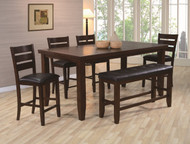 6 pc. Brown Leg Counter Height Table Set - FREE SHIPPING - Weekly Special