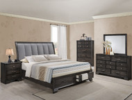 Upholstered Grey Storage Bedroom Set - FREE SHIPPING