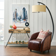 Fisherman Copper Wrapped Quilted Brown Leather Chair - FREE SHIPPING