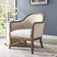 Marsh Beige Wood Frame Accent Arm Chair - FREE SHIPPING