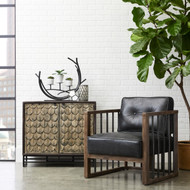 Bannister Black Leather Wood Spindle Frame - FREE SHIPPING