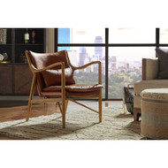 Dockery Hazelnut Leather Accent Chair - FREE SHIPPING