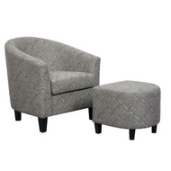 Heatherlea Black & White Barrel Chair & Ottoman - FREE SHIPPING