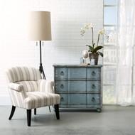 Ernestine Cream & Blue Uph Arm Chair - FREE SHIPPING