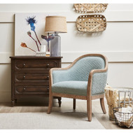 Marsh Quilted Blue Wood Frame Accent Arm Chair - FREE SHIPPING