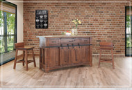 Distressed Brown Kitchen Island - FREE SHIPPING