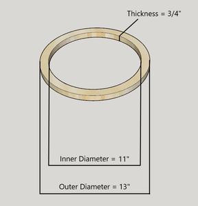 """12"""" Birch Wood Speaker Ring Pair for Fiberglass Speaker Pod / Pods"""