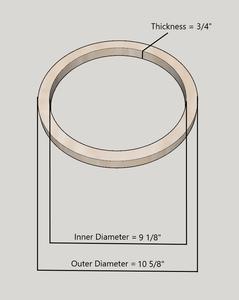 """10"""" Birch Wood Speaker Ring Pair for Fiberglass Speaker Pod / Pods"""