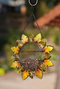 Sunflower, Metal and Glass Bird Feeder