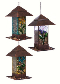 Glass and Metal Feeder Assortment of 3 Floral Designs