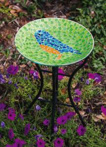 Bright and Cheerful Bluebird Mosaic Birdbath with Stand