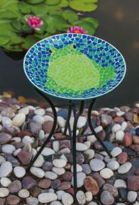 Bright and Cheerful Frog Mosaic Birdbath with Stand