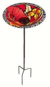 Brilliant Butterfly Birdbath on Stake