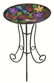 Summer Menagerie Glass Birdbath Set