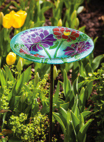 Leaves and Blossoms Medallion Staked Birdbath