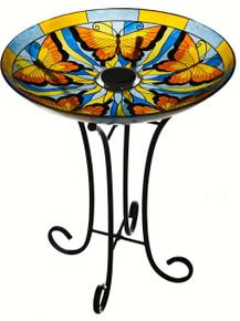 Butterfly 18 inch Solar Birdbath
