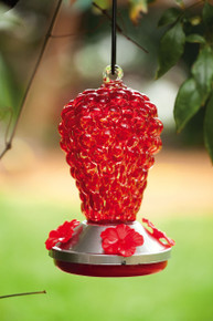 Glass Red Grapes Hummingbird Feeder