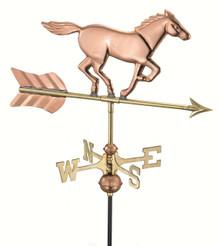 Horse Garden Weathervane Polished Copper