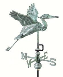 Blue Heron Garden Weathervane Blue Verde Copper