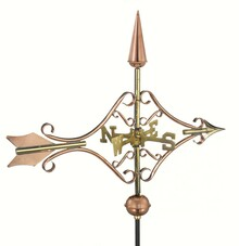 Victorian Arrow Garden Weathervane Polished Copper