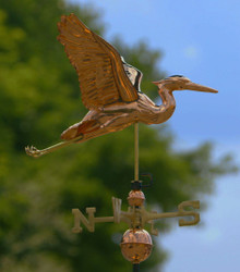 Blue Heron Weathervane Polished Copper + FRT