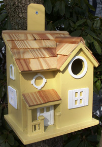 Nestling Cottage Birdhouse Yellow