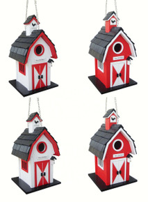 Barn Birdhouse 4 pack (2 red, 2 white)