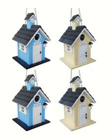 Town Hall Birdhouse 4 pack (2 blue, 2 yellow)