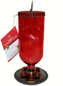 16 oz Elegant Antique Glass Bottle Hummingbird Feeder Red