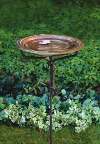 Solid Copper Birdbath w/Iron Twig Base + Freight