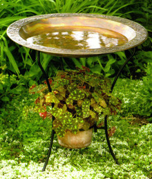 Copperplated Steel Birdbath