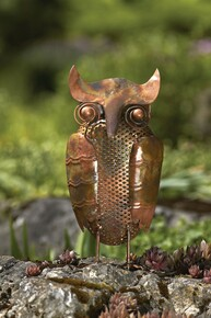 Owl Flamed Copper Standing