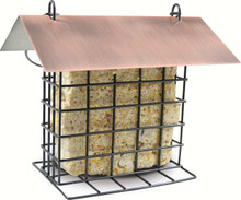 Metal Suet Feeder with Brushed Copper Roof